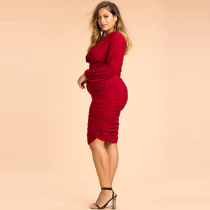 Plus Size Clothing Long Sleeve Solid Color Dress LAVELIQ - Laveliqus