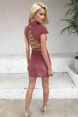 Corduroy Backless Lace Up Vintage Dress LAVELIQ - Laveliqus