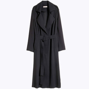 Plus Size Solid Black Single Breasted  Sash Women Warm Coat Turn-Down Collar Long Sleeve Trench Coat  Laveliq - Laveliqus
