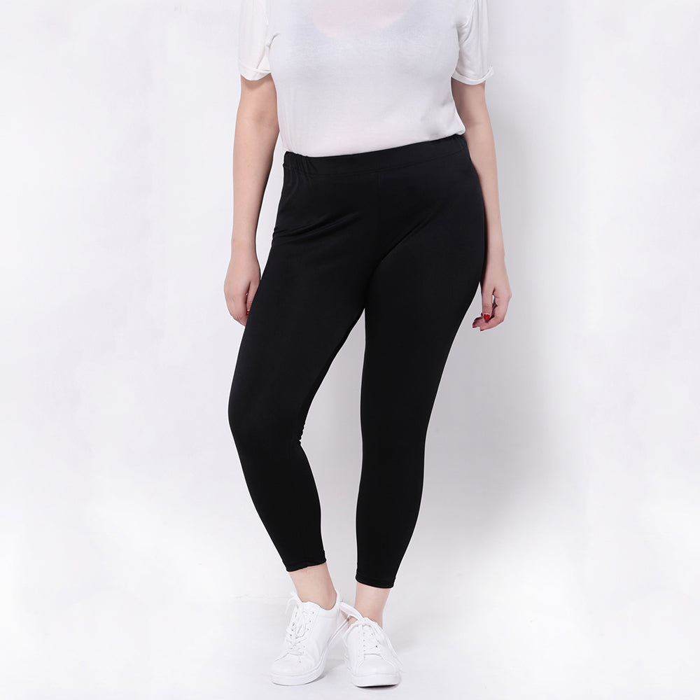Plus Size Women Clothing Autumn Black Solid Slim High Waisted Elastic Skinny Pencil Pants Trousers Laveliq - Laveliqus