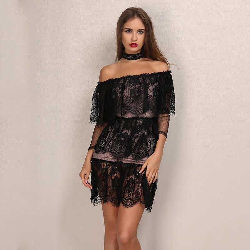 Black Lace Off Shoulder Mini Dress Laveliq - Laveliqus