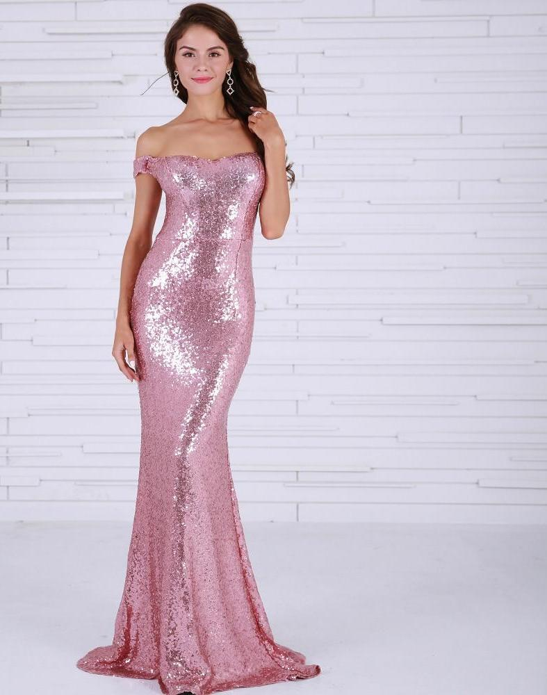 Off Shoulder Backless Gold Sequin Maxi Dress Gown - Laveliqus