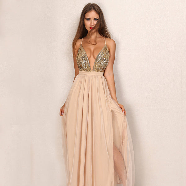 party maxi dress sling evening deep v-neck backless sequin patchwork sexy elegant strap Laveliq