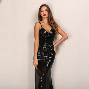sequin Dress chic sequined evening sparkly V neck backless Laveliq - Laveliqus