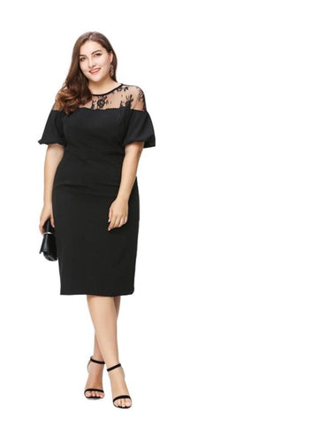 Plus Size Ruffles Shoulder Midi Party Dress LAVELIQ