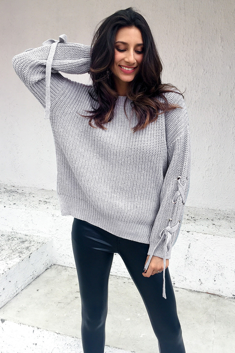 Casual O Neck Knitted Jumper Lace Up Sleeve Knitting Sweater  LAVELIQ - Laveliqus