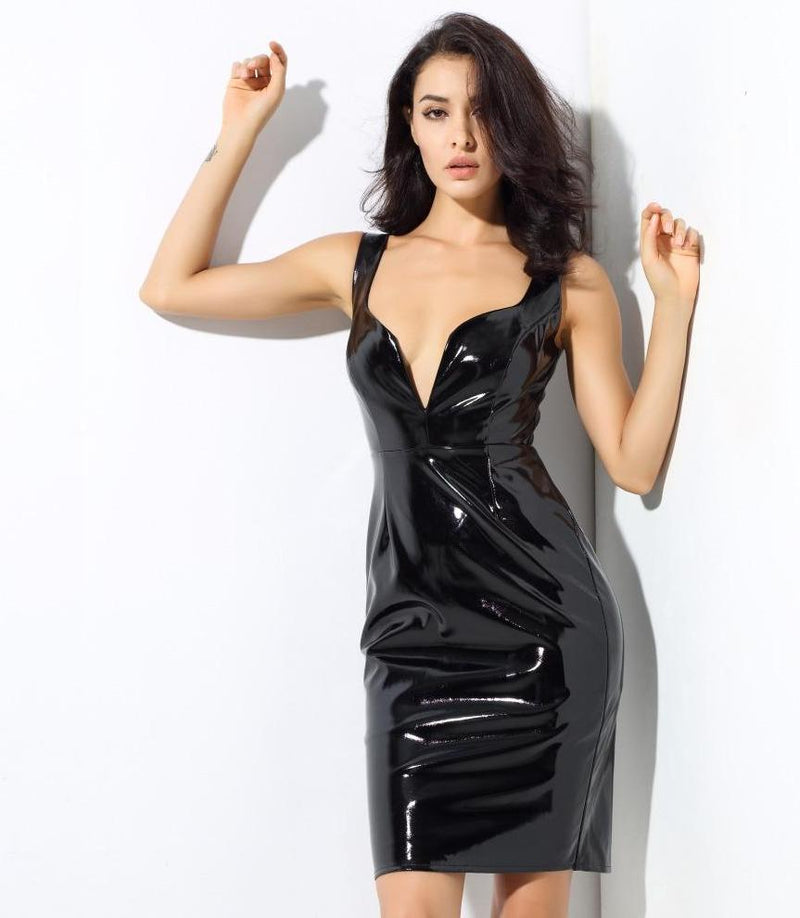 Black Light Artificial Leather V-Neck Party Dress  LAVELIQ - Laveliqus