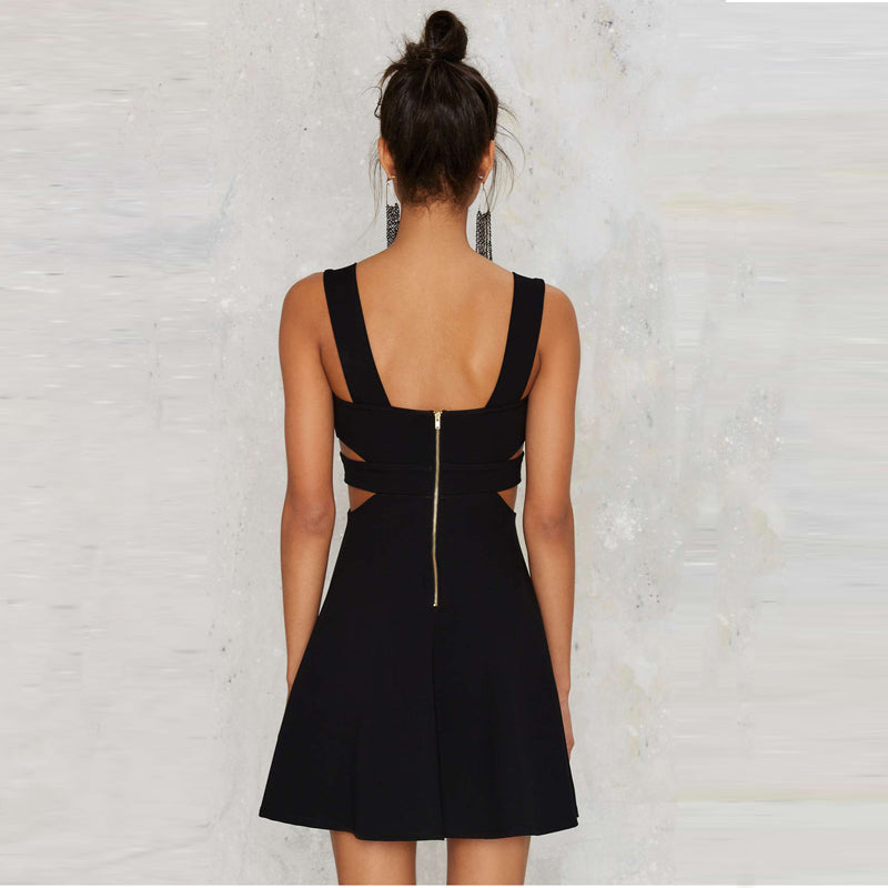 Women V-neck Mini Black Dress Solid Cut Out Waist Zipper Backless laveliq - Laveliqus