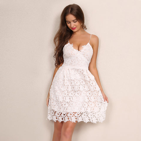 Straps Hollow Out Floral White Dress Laveliq