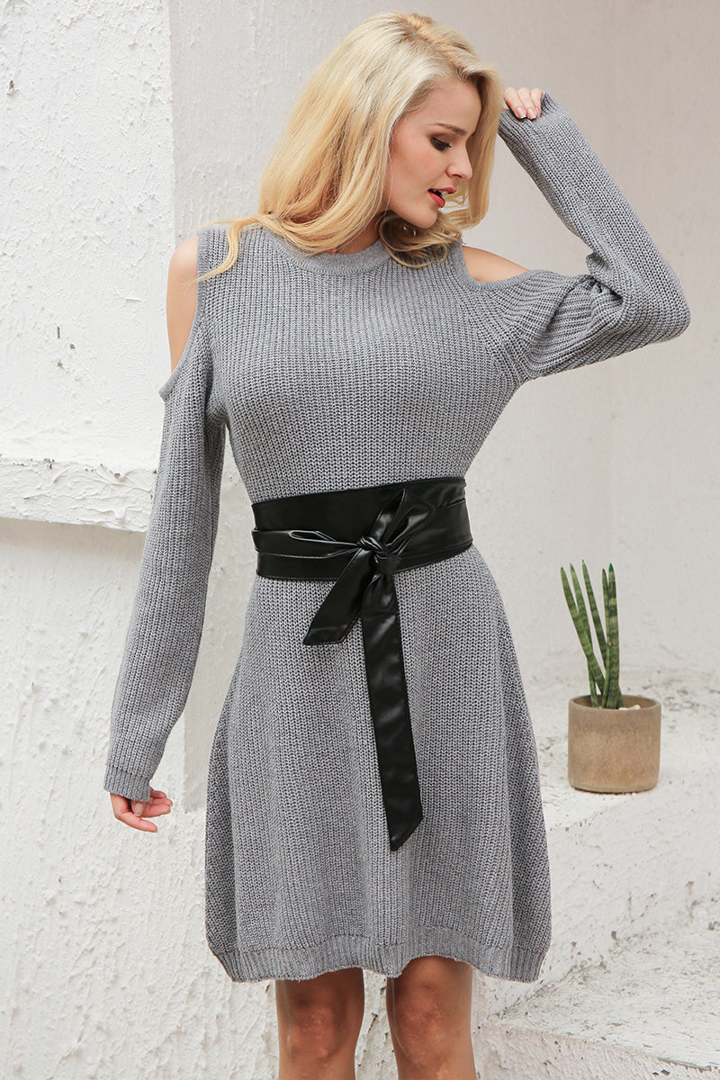 Sexy Cold Shoulder Knitting Sweater Dress LAVELIQ - Laveliqus
