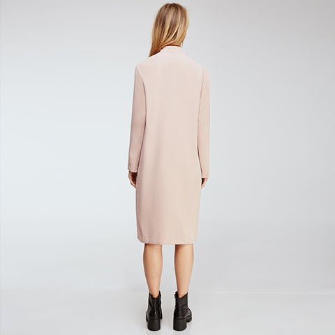 Autumn Women Solid Color Sexy Side Split Coats OL Brief Casual Long Sleeves Retro Vintage Midi Long Trench Coat Laveliq