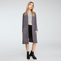 Autumn Women Solid Color Sexy Side Split Coats OL Brief Casual Long Sleeves Retro Vintage Midi Long Trench Coat Laveliq - Laveliqus