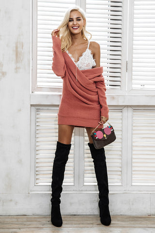 Sexy V Neck Cross Knitting Sweater Dress LAVELIQ