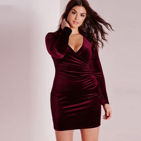 V-neck  One-piece Dress Slim Long Sleeve Street Bodycon Dress Plus Size Laveliq