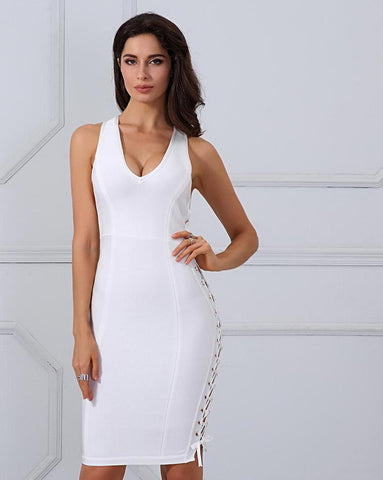 White Side Lace Up Summer Bandage Dress LAVELIQ