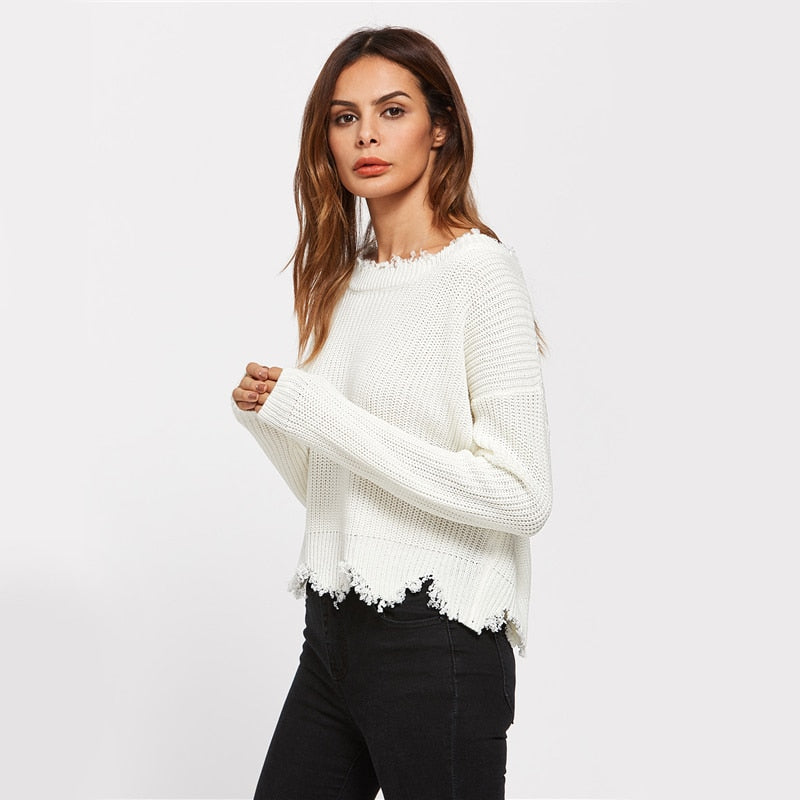 White Pullover Sexy Low Back Women Jumper LAVELIQ - Laveliqus