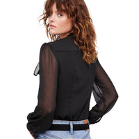 Black Mesh Semi-Sheer Sexy Women Shirt LAVELIQ - Laveliqus
