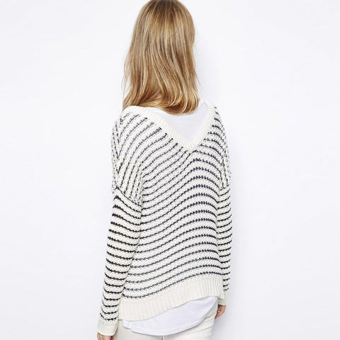 Black-white Stripe Long Sleeve Tops LAVELIQ