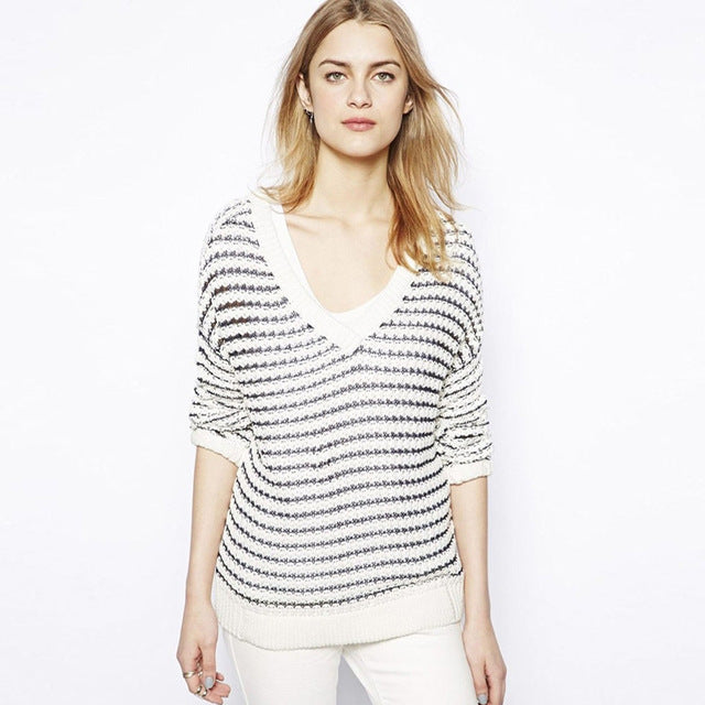 Black-white Stripe Long Sleeve Tops LAVELIQ - Laveliqus