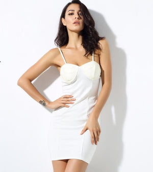 Artificial Leather Stitching White Slim Dress  LAVELIQ - Laveliqus