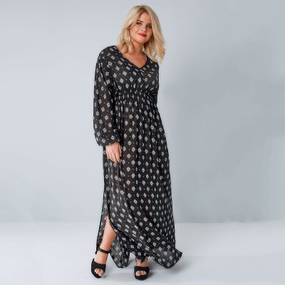 Plus Size Geometric Print Side Slit Lantern Sleeve Maxi Dress LAVELIQ