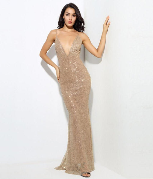 Sexy Gold Deep V Collar Exposed Bead Material Maxi Dresses  Laveliq