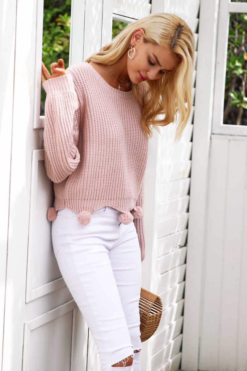 Handmade Fur Ball Casual Knitted Sweater LAVELIQ - Laveliqus