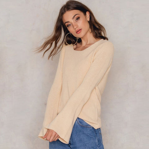 Solid Color Women Sweaters LAVELIQ