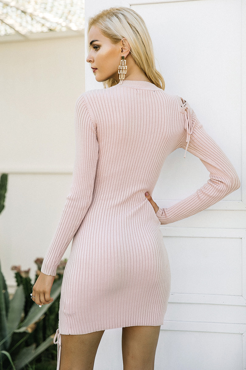 Lace Up Skinny Knitted Sweater Dress LAVELIQ - Laveliqus