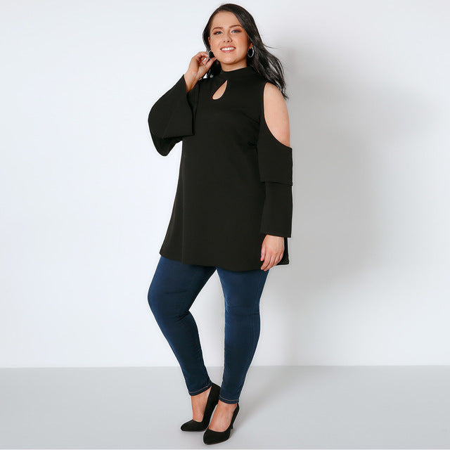 Plus Size Hollow Out Cold Shoulder Ruffled Sleeve Top LAVELIQ - Laveliqus