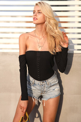 Sexy off shoulder black bodysuit Women long sleeve knitted jumpsuit romper Laveliq