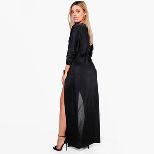 Women Plus Size Satin Side Split V Neck Dress Sash Long Sleeve Solid Color High Waist Dress Laveliq - Laveliqus
