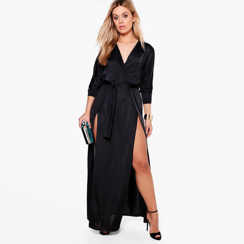 Women Plus Size Satin Side Split V Neck Dress Sash Long Sleeve Solid Color High Waist Dress Laveliq