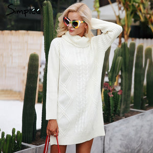 Turtleneck high split knitting pullover Autumn winter long sleeve laveliq - Laveliqus