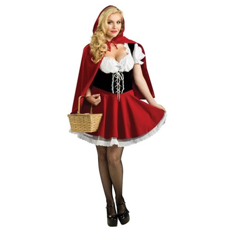 VASHEJIANG Plus Size M-6XL Fairy Tales Little Red Riding Hood Costume Women Kigurumi Carnival  Sexy Halloween Costumes For women