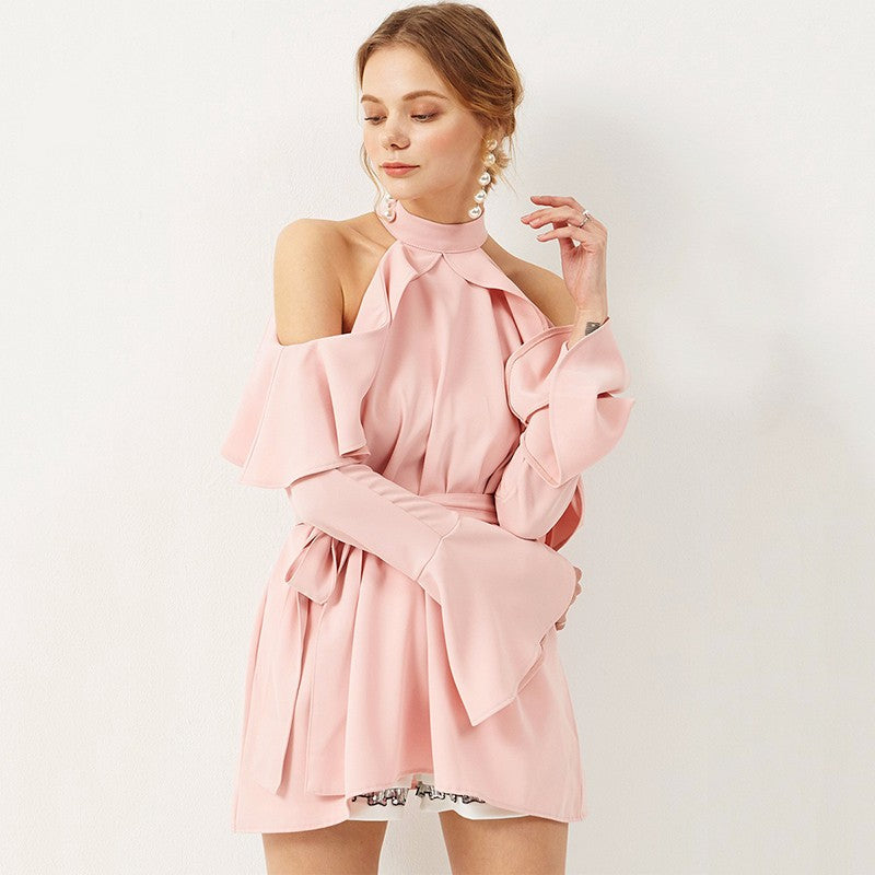 Solid color off shoulder belt wrap mini dress LAVELIQ - Laveliqus