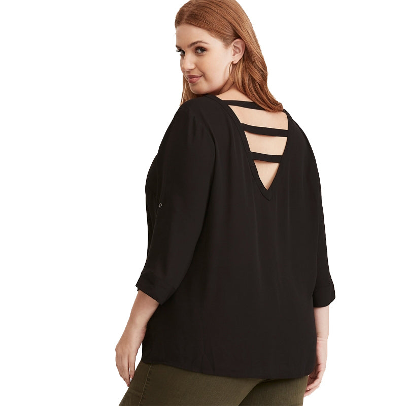 Plus Size Solid Color Clothing Back V-neck Cut Out Sexy Blouse LAVELIQ - Laveliqus