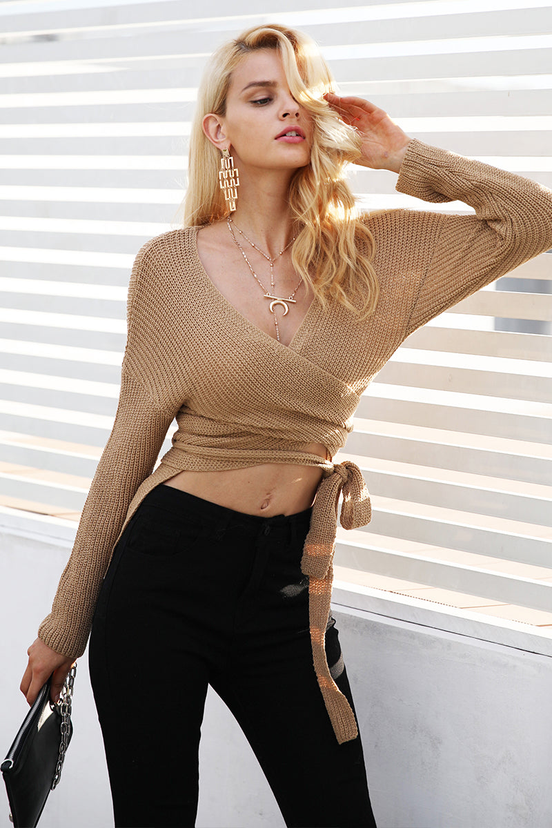 Belt V Neck Irregular Winter Sweater  LAVELIQ - Laveliqus
