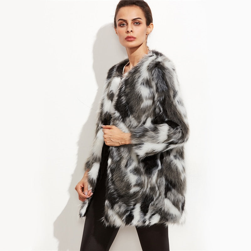Faux Fur Fuzzy Coat Women Color Block Open Front Elegant