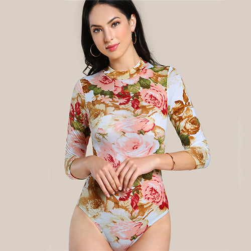 Long sleeve floral o neck bodysuit top - Laveliqus