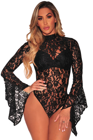Bodysuit Black Sheer Floral Lace Long Bell Sleeve Playsuit Bodycon Laveliq