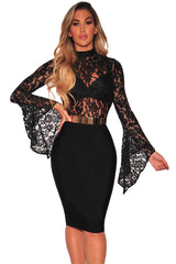 Bodysuit Black Sheer Floral Lace Long Bell Sleeve Playsuit Bodycon Laveliq - Laveliqus