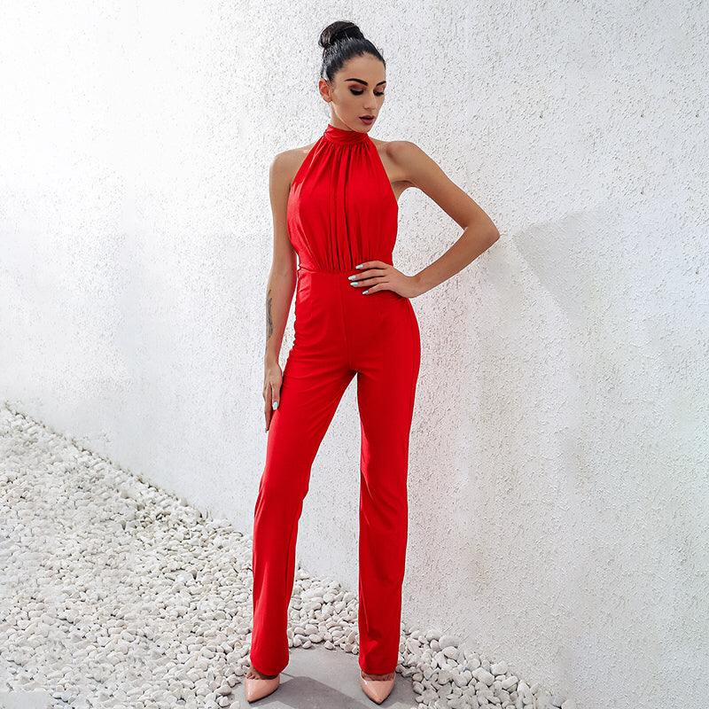 Sexy Back Hollow Bandage Solid Lady Club Overalls Jumpsuits