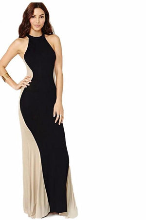 Elegant Long Maxi Dress Swerve Black Ivory Laveliq - Laveliqus