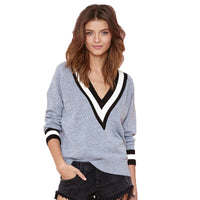 Ribbed V Neck Long Sleeve Sweater Casual Knitted Tops Laveliq - Laveliqus