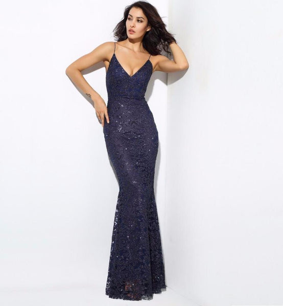 Sexy Navy Deep V Neck Open Back Flower Ribs Maxi Dresses Laveliq
