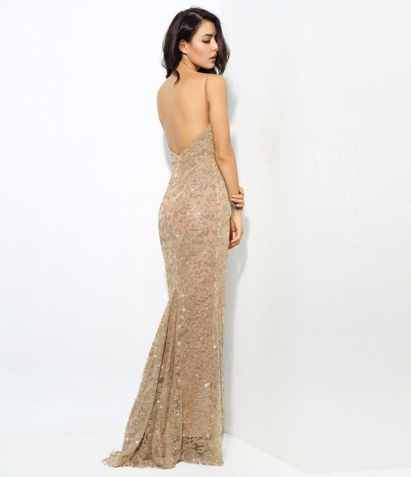Sexy Gold Deep V Neck Open Back Flower Ribs Maxi Dresses  Laveliq - Laveliqus