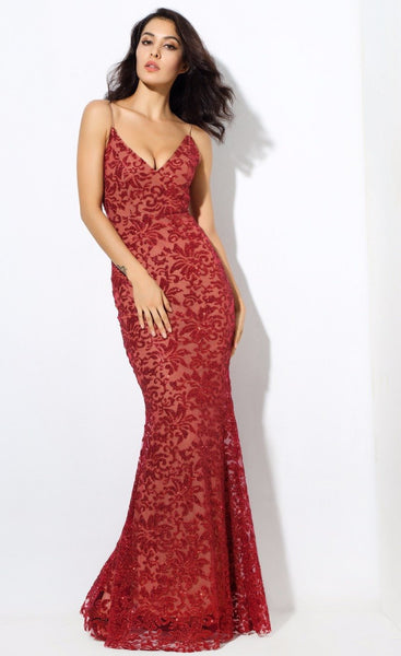 Sexy Red Deep V Neck Open Back Flower Ribs Maxi Dresses   Laveliq