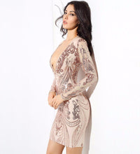 Sexy Gold Deep V-Neck Geometry Sequin Long Sleeve Dress Laveliq - Laveliqus