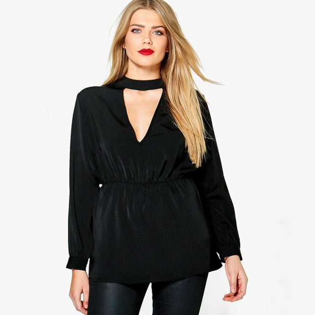 Plus Size Deep V Neck Hollow Out Shirt LAVELIQ - Laveliqus